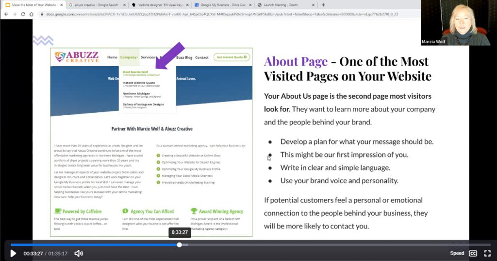 Optimize About Page on Website